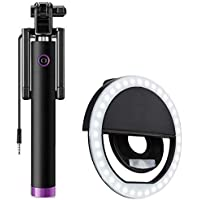 Suckey Selfie Stick 360 Degree Adjustable Monopod 3.5Mm Jack Aux Cable with Selfie Enhancing Ring Light with 3 Level of…
