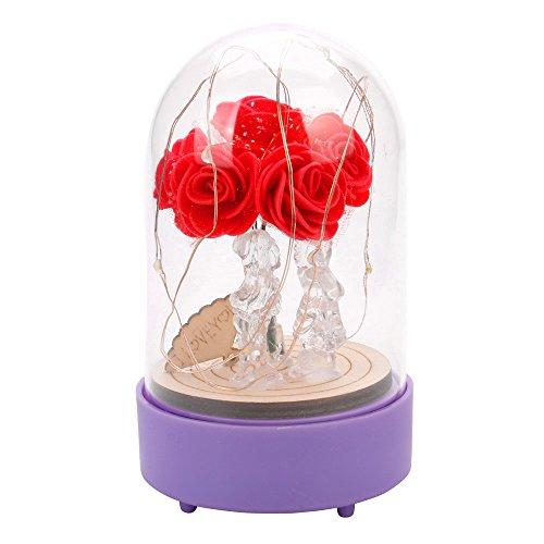 FeiBeauty Rote Seidenrose und LED-Licht mit herabgefallenen Blütenblättern in Glaskuppel auf Einem Holzsockel von Warm White Light Rose Valentinstag Jubiläum Geburtstag Hochzeit Music Bear