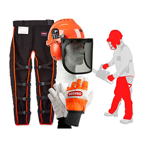 Oregon Type A Chainsaw Safety Clothing Kit with Universal Leggings/Seatless Trousers, Gloves and Helmet
