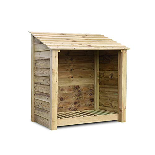 Rutland County Garden Furniture GREETHAM 4FT - WOODEN LOG STORE/GARDEN STORAGE, GREEN, HEAVY DUTY, HAND MADE, PRESSURE TREATED.