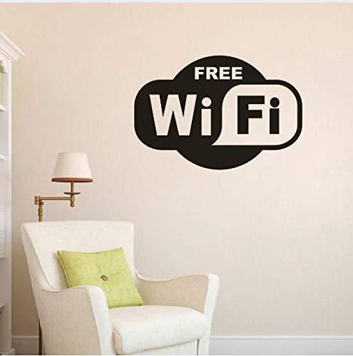 Liushop Removable WiFi Vinyl Wall Sticker Free WiFi Zone Wall Decals Restaurant Stores WiFi Logo Window Murals Vinyl Wall Poster85*57Cm