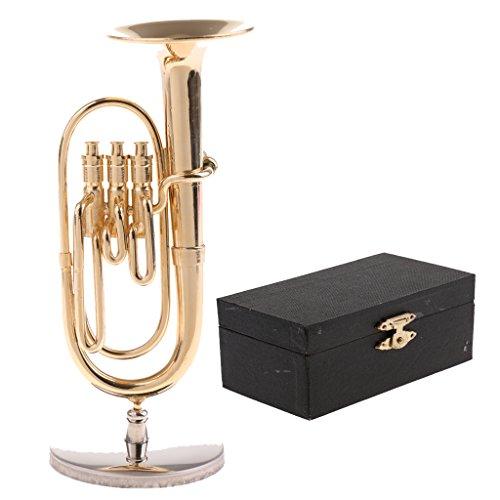 P Prettyia 1/6 Miniatur Hölzerne China Musikinstrument Modell mit Box und Ständer - Tuba-2