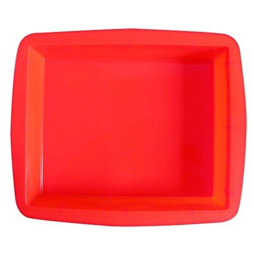 BAKER DEPOT Molde de silicona rectangular grande para el molde del pan de la fabricación de la torta Color rojo