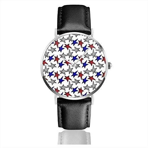 Patriotische Sterne Casual Uhren für Herren Damen Damen mit schwarzem Leder ()