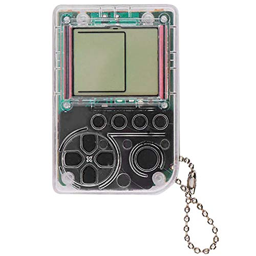 WOVELOT Tetris Kind Video Spiel Konsole Spielzeug Eingebaute 26 Spiele Verwenden Für Schlüssel Anh?nger Ring Halter Kinder Geschenk Grau -