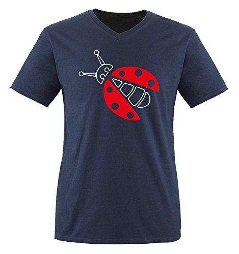 Comedy Shirts - MARIENKÄFER KOSTÜM - Herren V-Neck T-Shirt - Navy / Weiss-Rot Gr. (Beast Kostüm Beauty Herren Tier)