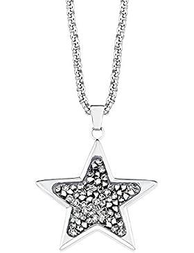 s.Oliver Damen-Kette 42+3 cm verstellbar mit Stern-Anhänger Edelstahl Swarovski Kristalle silber