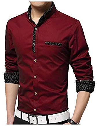 Jeevaan Men's Plain Casual Design Full Sleeve Shirt Maroon