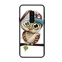 Fvntuey Compatible with Samsung Galaxy S9 Plus Accessories Hard PC [Tempered Glass Back] Shell Cool Pattern Design with Soft TPU Bumper Full Body Protection Case Fashion Slim Cover for Galaxy S9+(Owl)