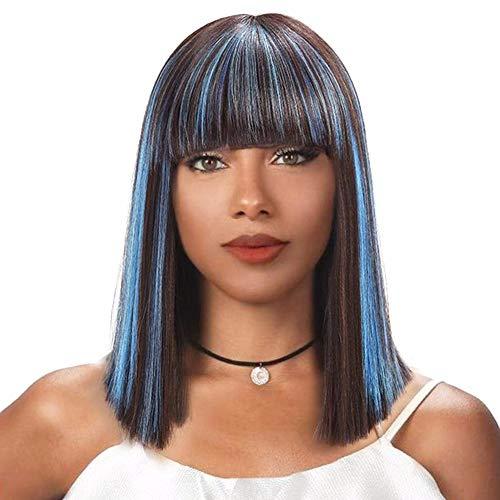 ZYJFP Damen Perücke Gerade Haare, Hochtemperatur Seide 16Inchbobo Wig Blau, Rose Hair Net Halloween Karneval Rolle Spiel Wig