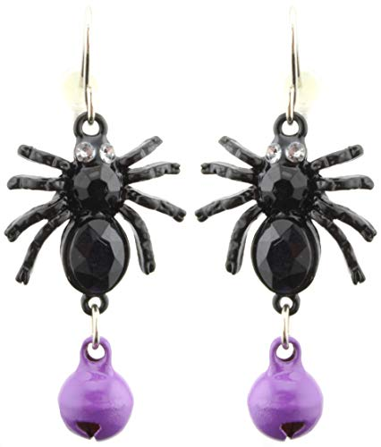 Zest Schwarze Spinne Halloween Ohrringe mit lila Glöckchen für Ohrlöcher
