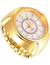 NICERIO Reloj de Anillo de Dedo de Cuarzo Reloj de Anillo de Joyería Creativa Reloj de Dedo Redondo Elástico para Mujeres Hombres