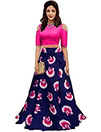 c9ab0e0b15 Sri Sri Collection Girl's Crepe Silk Long Skirt Top (Blue and Pink, Free  Size