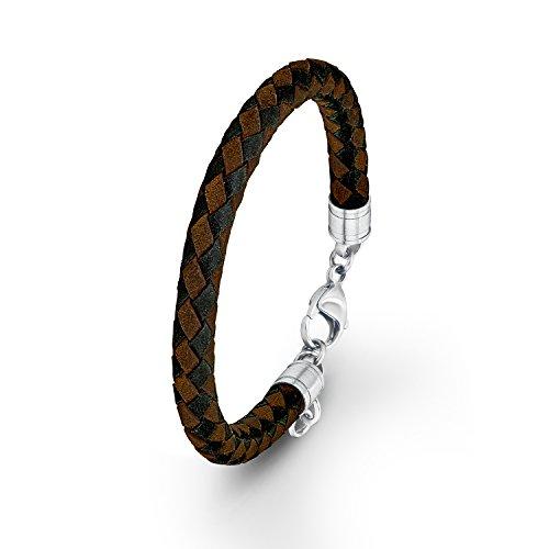 s. Oliver Herren-Armband Lederarmband Edelstahl Leder 22 cm