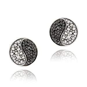 Sterling Silver Black & White Diamond Accents Yin Yang Stud Earrings