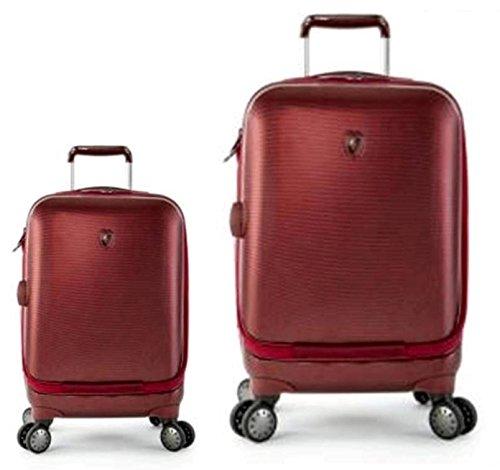 Sets de Bagages, valises - Première Classe Valise Rigide Set 2 pièces - Heys Crown Smart Portal Rouge Bordeaux Bagages à Main + Trolley avec 4 Roues Grand