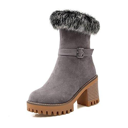 AgooLar Damen Hoher Absatz Rein Mattglasbirne Reißverschluss Stiefel, Grau, 36