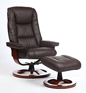 Fauteuil relax cuir marron avec pouf cuisine maison - Amazon fauteuil relax ...