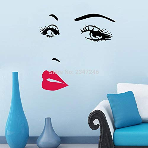 yiyiyaya Schöne Frau Gesicht Wandtattoo Augen und rote Lippen Wandkunst klassisches Aussehen Wandhaupt Aufkleber57 * 70cm