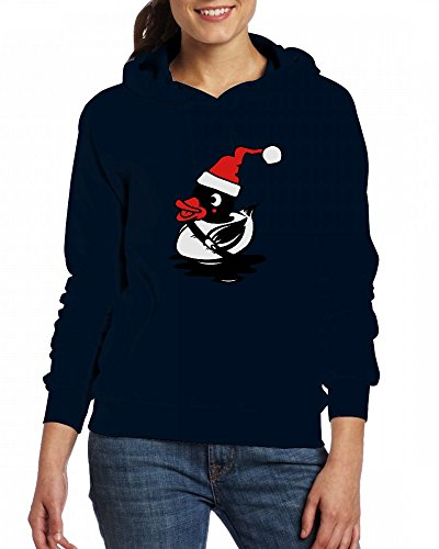 A duck with a Christmas hat Womens Hoodie Fleece Custom Sweartshirts green