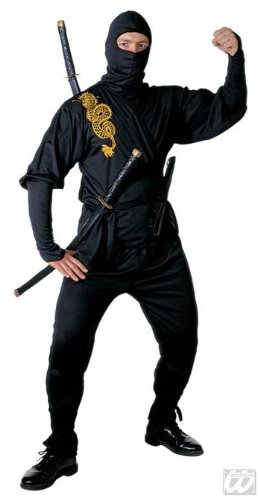 Schwarzes Ninja Kostüm Golden Dragon Gr. S