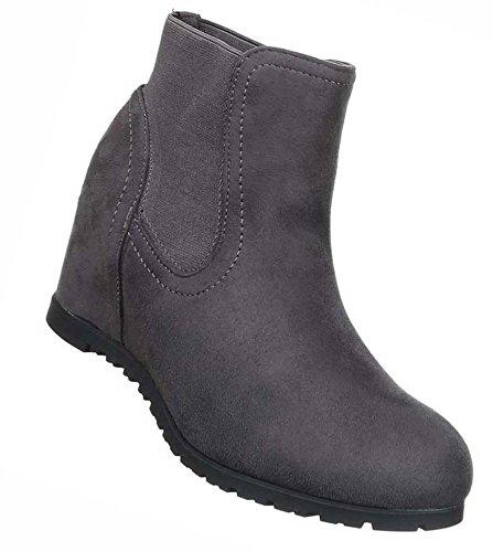Senhoras Botas Sapatos Esticar Cunhas Cunha Stiefeletten Cinza Negra 36 37 38 39 40 41