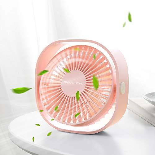 SMARTDEVIL USB Ventilator, Handventilator, Kleiner Ventilator, PC Ventilator, USB Mini Ventilator, 3 Geschwindigkeiten, USB Lüfter Geräuscharm, USB Fan Einfach zu Tragen, für Büro, Zuhause,Pink (Kleine Fan-pink)