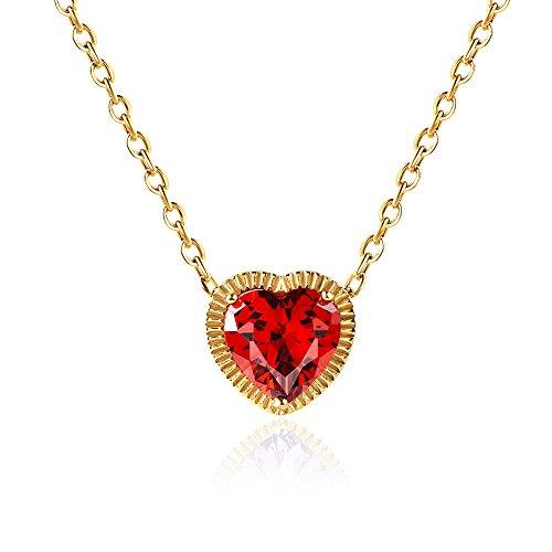 n - Dalwa 925 Silber Kette mit 585 Gold Überzogen / Anhänger AAA Zirkonia Herzanhänger in Rot, inkl. Geschenkverpackung ()