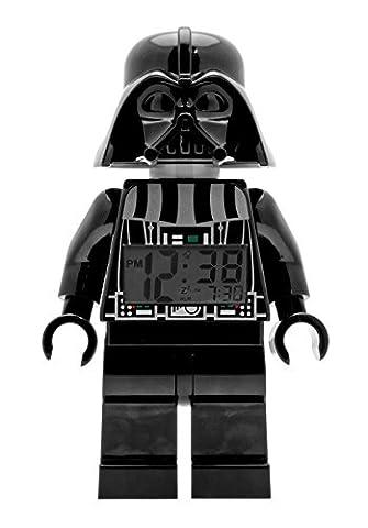 LEGO Star Wars Darth Vader Kinder-Wecker mit Minifigur und Hintergrundbeleuchtung | schwarz/grau | Kunststoff | 24 cm hoch | LCD-Display | Junge/ Mädchen |