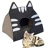 The Pet Cave Lettino per Gatti Piccoli e Medie Dimensioni Design Cuccia per Gatti con Cuscino la Tana Perfetta - L Grigio (40x30x40cm)