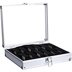 Bracelet Storage Case - SODIAL(R)Aluminium Watch Storage Case Bracelet Organiser Display Box With Pillows Holders 12 Insert Slots