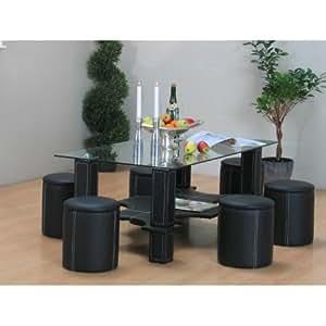 Couchtisch GENEVE Glastisch Wohnzimmertisch Beistelltisch Tisch schwarz PU-Leder
