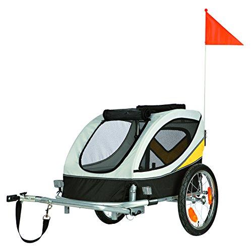 Trixie 12805 Fahrrad-Anhänger, M, 45 x 48 x 74 cm, grau/schwarz/gelb (Hund Fahrrad Anhänger)