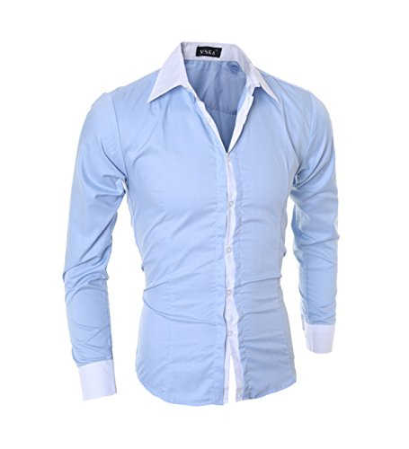 Lanbaosi Homme Chemise de Business Manches Longues Contraste Couleur Col Chemise Classique pour Soirée et Mariage Shirt Tops Mode Men Slim Fit Bleu