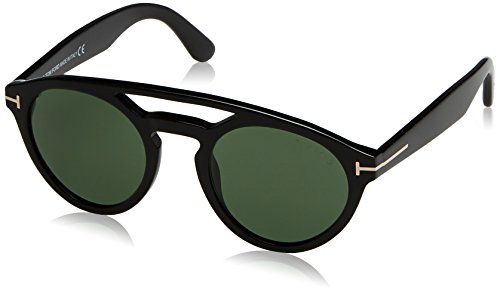 Tom Ford FT0537 Sunglass Pant, Montature Donna, Shiny Black with Green Grey, 50