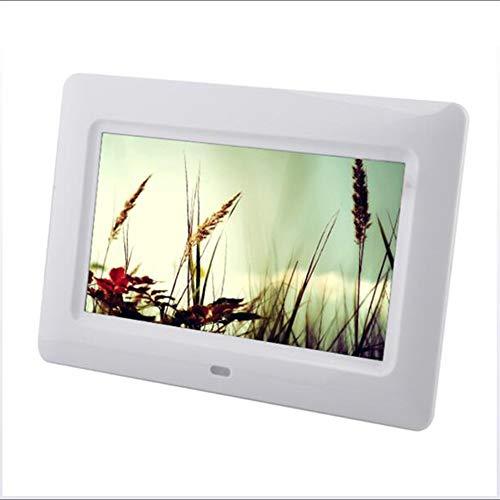 M&M\'s ES Digitaler Bilderrahmen mit 17,8 cm (7 Zoll), Auflösung 800 x 480, elektronischer Bilderrahmen mit eingebautem Lithium-Akku, mit Fernbedienung, Musik-Unterstützung, Video, Bildwiedergabe weiß