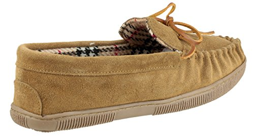 Mirak Mens Alberta Suede Textile Lined Moccasin Style Slipper Brown Beige