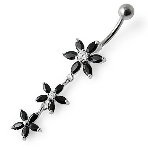 Barres de Pierre en cristal fleur Triple tendance Design 925 argent Sterling avec le ventre en acier inoxydable Black