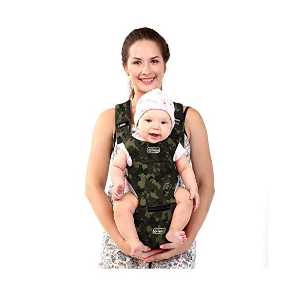 "BeeViuc Front Premium Hipseat Baby Carrier for Newborn, Baby Sling, Multifunctional, Ergonomic, 100% Cotton, Butterfly Rotary Buckle, 6 Carrying Positions - Camouflage Green BeeViuc Ultimate Comfort For Baby - The Baby Carrier is Used Soft Classical Cotton With Polyester Touching. Suit For Baby Who is Between 3-36 Months and 0-20 KG. Ultimate Comfort For Parents - An adjustable Velcro Waist Strap That Puts Some Of The Weight On Your Hips. Ultra Extand And Soft Padded Shoulder Straps For The Best Comfortable For All Parents. Baby Hip Healthy - Enable Your Baby To Be Seated in An Optimal Natural ""M Shape"" Position From Newborn To Toddler. The Carrier Has Been Acknowledged As a ""Hip-Healthy"" Product By The International Hip Dysplasia Institute. 1"