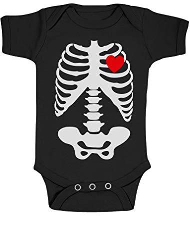 Green Turtle T-Shirts Mädchen Skelett Schwarz 12-18 Kurzarm-Body Baby Body (Nette Baby Halloween-kostüme Twin)