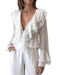 BLACKMYTH Señoras Moda V-Cuello Gasa Bell Sleeve Blusa Mujer Camisas Tops