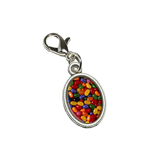 Jelly Beans Candy Anhänger Armband Antik Zipper Pull Oval Charme mit Karabinerverschluss (Jelly Bean Charme)