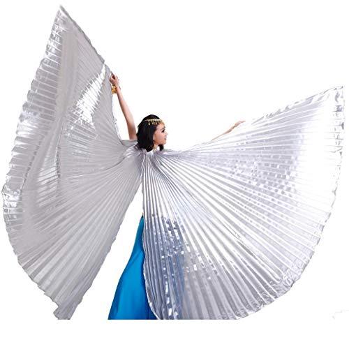 Wuchieal Öffnung Bauchtänzerin Isis Flügel Dancing Requisiten Kostüm mit Stöcke Tasche (Silber, One Size) (Isis Kostüm Flügel)