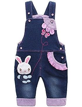 Niñas Peto Vaqueros Overalls Mono Pantalón Largo Ajustable con Animal Conejo Y Mariposa Azul