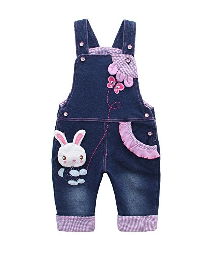 Kids Baby Denim Dungarees Girls Toddler Bib Overall Jeans with Suspenders Bunny Butterfly - 80