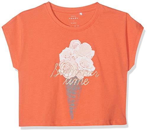 NAME IT Mädchen NKFVILMA CAPSL CROP TOP H T-Shirt, Orange (Emberglow), 134 (Herstellergröße: 134-140)