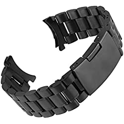Beauty7 24mm Stainless Steel Bracelet Watch Band Strap Three Strains Curved End Solid Links Color Black 7.28 Inches 18.5 Cm Women Ladies Girls Watch Accessary Jewelry