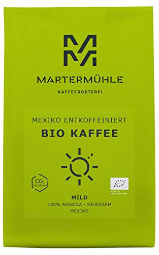 Martermühle | Bio Kaffee Mexiko entkoffeiniert (500g) | Ganze Bohnen | Premium Kaffeebohnen aus Mexiko | Schonend geröstet | Kaffee säurearm | 100% Arabica