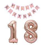 """Juland 18th Compleanno Banner di Partito Bunting Numero Grande 18 Palloncini di Alluminio Forniture e Decorazioni per Feste Rosa Caldo con Oro Rosa 18"""""""