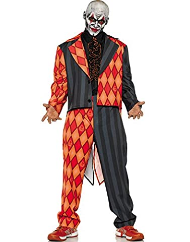Costumes Thriller - Underwraps Thriller Mens Scary Orange Black Clown